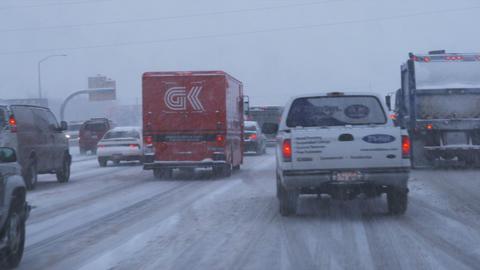 Traffic in winter storm Footage