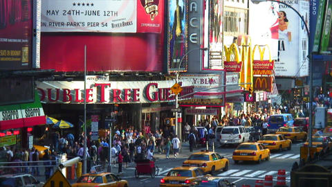 Seventh Avenue with taxis and pedestrians in New York City Footage