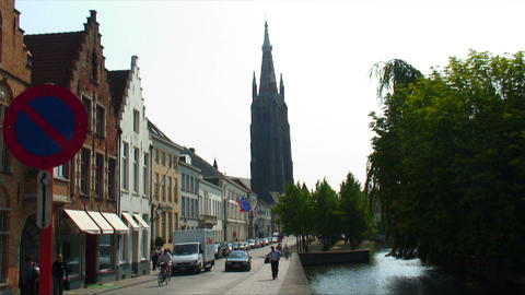 Spire of the Church of Our Lady in Bruges Belgium Footage