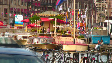 Canal cruise boats in Amsterdam Footage