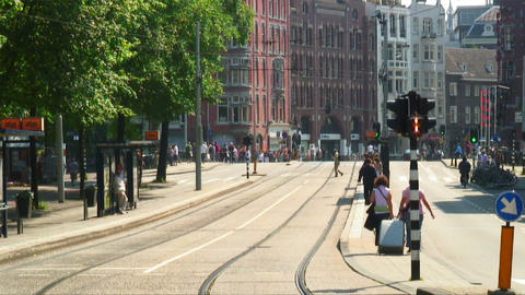 Tram tracks in Amsterdam the Netherlands Footage