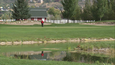 Golfer missing a putt and preparing for a second Footage