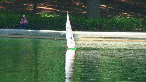 Toy sailboat on a pond Live Action