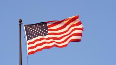USA flag in the wind in Salt Lake City Utah Footage