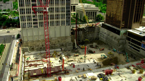 Pan of two construction sites Footage