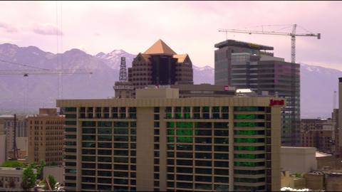 Pan of downtown Salt Lake City's skyscrapers Footage