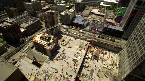 Looking from the top of a skyscraper of a construction site in SLC Utah Footage