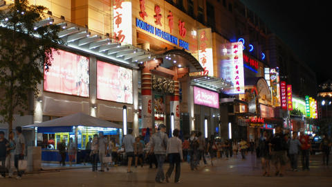 Time-lapse of a China shopping strip Footage