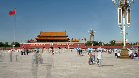 Building and crowd time-lapse at Tiananmen Square China Footage