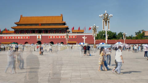 Time-lapse of area of Tiananmen Square China Footage