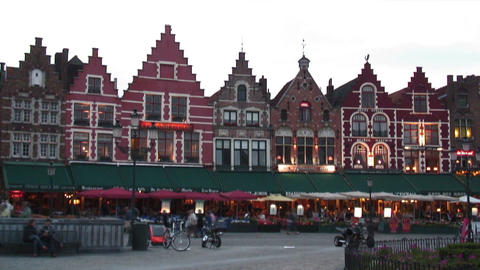 Time-lapse of people in Market Square of Bruges Belgium Live Action