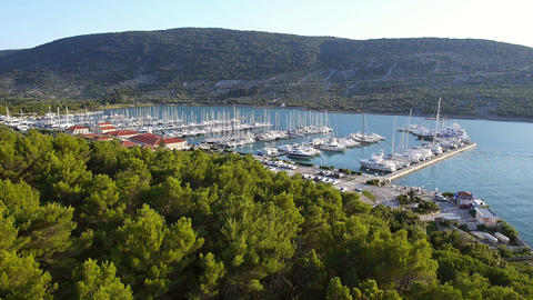 Aerial - Flying above pine trees showing the marina with sailboats Footage