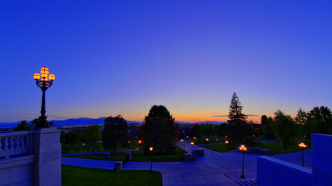 Time-lapse shot of the grounds surrounding the Utah state capitol Live Action
