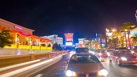 Sped-up tracking shot of the Las Vegas strip at night Footage