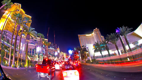 Sped-up tracking shot of Las Vegas at night Footage