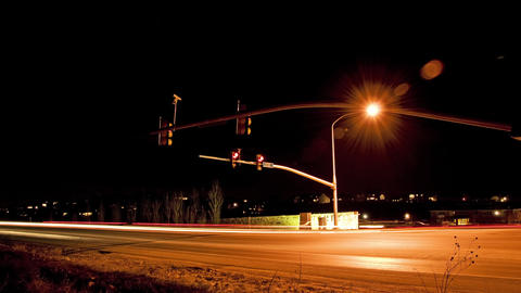 Time-lapse shot of the intersection at Cedar Pass Drive, Utah at night Live Action