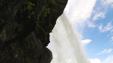 Falls in mountains of Norway in rainy weather ビデオ