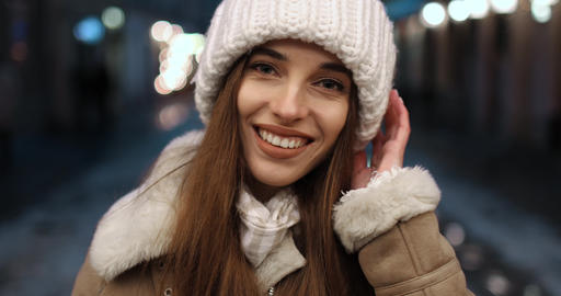 Girl Smiling while Looking at Camera ビデオ