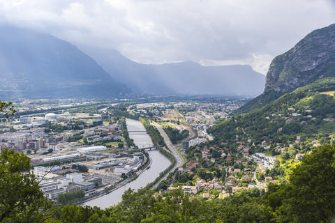Panoramic aerial view of Grenoble city, France フォト