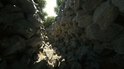 Camera exploring a 3d rocky passage with trees beautiful landscape loop Animación