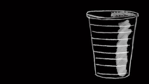 disposable plastic cup, drawn on black chalkboard, ideal footage to represent Footage