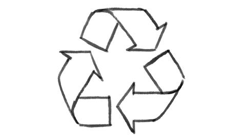 recycle symbol drawn on white chalkboard, footage ideal for representing ecology ビデオ