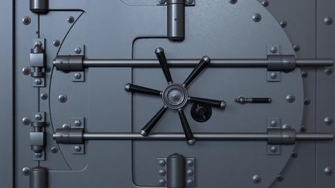 Bank vault door opening revealing a golden coin Footage