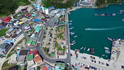 Korean Peninsula Topography Hanbando map in Ttangkkeut Village, Haenam, Footage