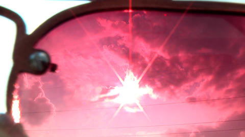 Setting Sun in the Red Color Glasses Footage