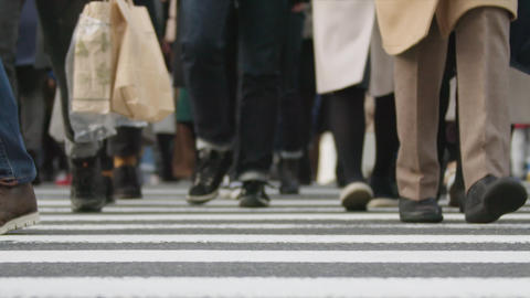 SlowMotion - Peoples walking on a crosswalk Tokyo Shinjuku FIX FrontView Cloudy ビデオ
