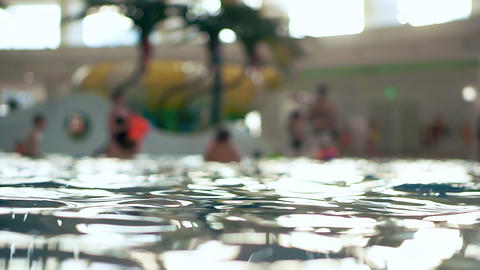 Swimming pool in public aqua park. Unfocused background ビデオ