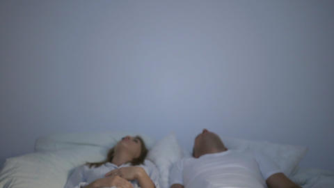 Boyfriend and girlfriend oversleeping hotel breakfast and excited waken Footage