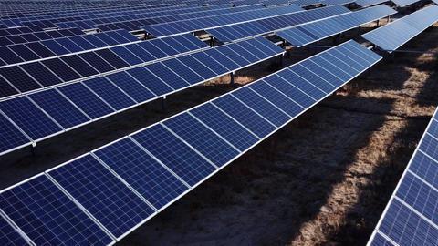 Aerial Shot Of Solar Panels GIF