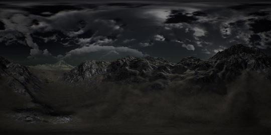 VR 360 Huge Dark Clouds over Scottish Highlands Footage