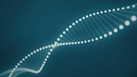 Rotating Dna strand formed by white luminous molecules on a blue background CG動画素材