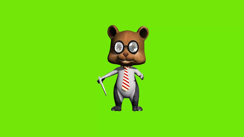 3d animated cartoon teddy manager ,trying to sell Stock Video Footage