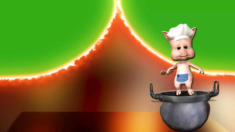 animated cartoon cook piggy in saucepan on fiery background and green screen Animation