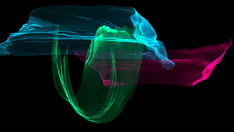 Colorful distorted ribbons flying on wind, romantic 3d rendering computer Live Action