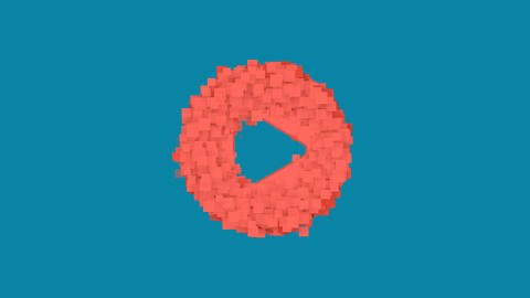 Behind the squares appears the symbol play circle. In - Out. Alpha channel Animation