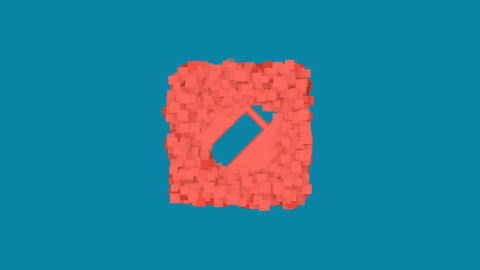Behind the squares appears the symbol pen square. In - Out. Alpha channel Animation