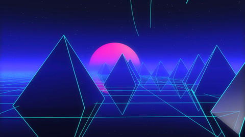 Futuristic Retro Landscape Of The 80s. Night digital landscape, sun, mountains Footage
