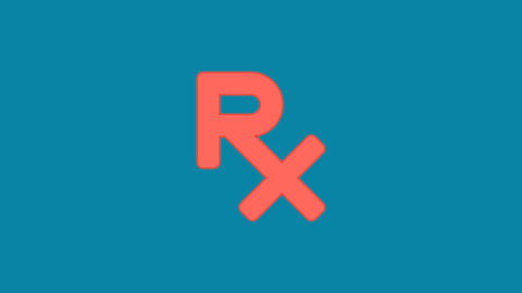 Behind the squares appears the symbol prescription. In - Out. Alpha channel Animation