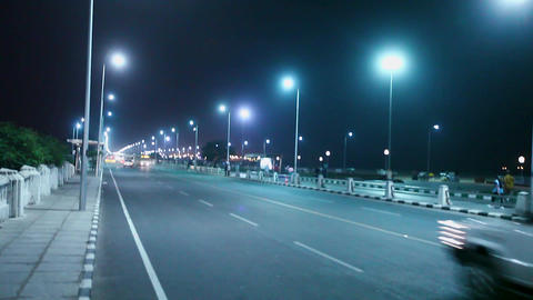 Night view in the Marina Beach Road Busy Street Scene in Chennai, India Footage
