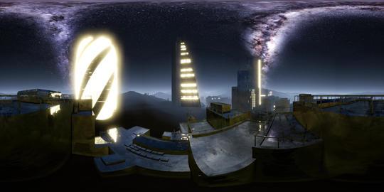 City Skyline at Night under a Starry Sky. VR360 ビデオ