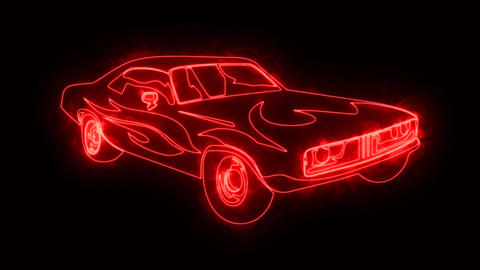 Red Burning Muscle Car Animated Logo Element with Reveal Effect Animation