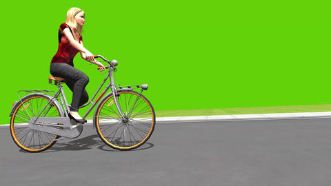 3d animation of a girl riding a bicycle on green screen background Animation