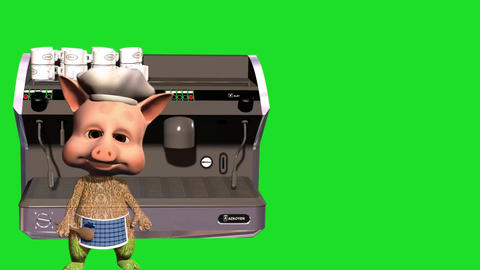 3d animated of cartoon piggy with coffee machine and green background Animation