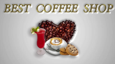 animated background with pictures of coffee and food useful design for Animation