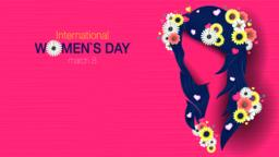 Greeting Card of INTERNATIONAL WOMEN S DAY. Silhouette of woman head with long Vector