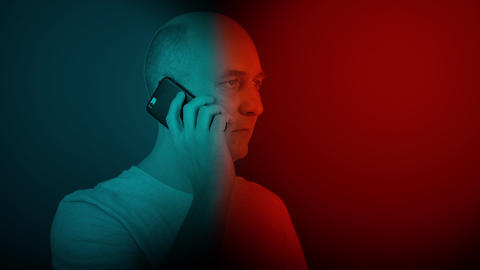 Bald man speaking and hearing mobile phone. oloring video like 3D glass GIF